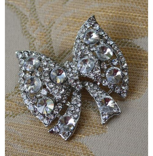 Diamante Encrusted Ribbon Brooch