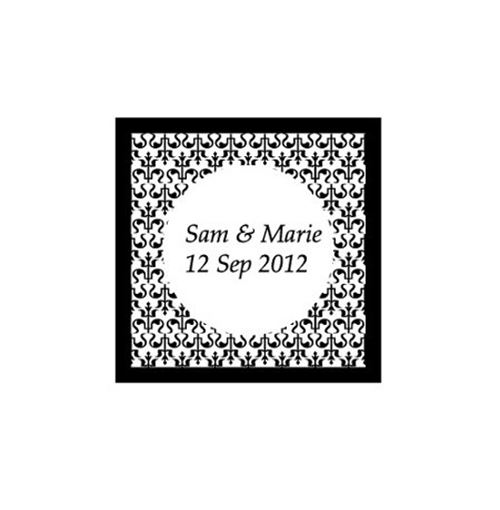Damask Square Label Stickers - Pack of 24  **Sale!**
