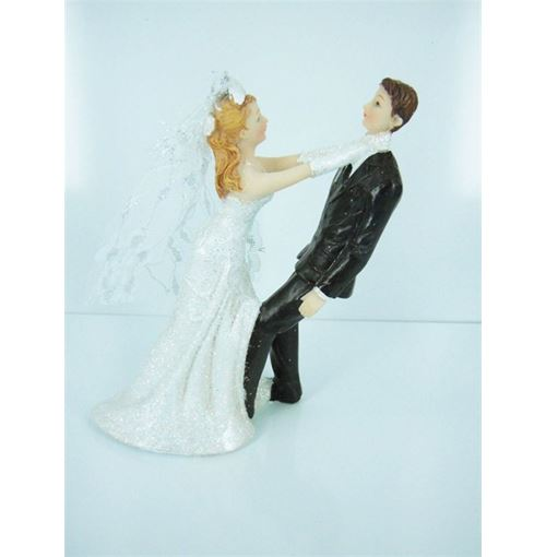 Wedding cake topper strangle groom