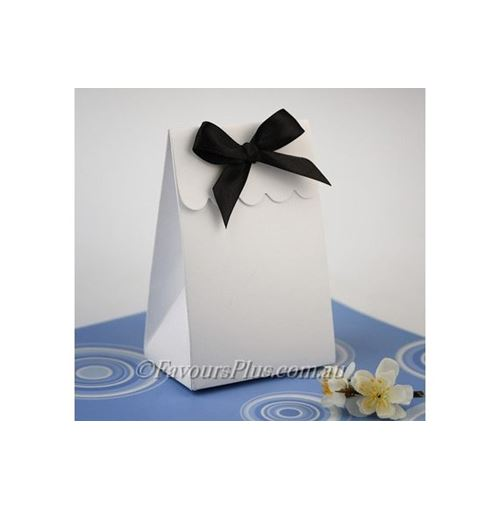 WHITE Sweet Shoppe Favor Boxes - With Ribbon