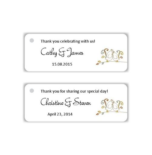 Wedding Favor Tags Australia : Personalised Favour Gift Tags (Lovebirds on Branches) - Pack of 30