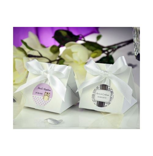 White Oragami Triangular Favour Boxes w/Ribbons