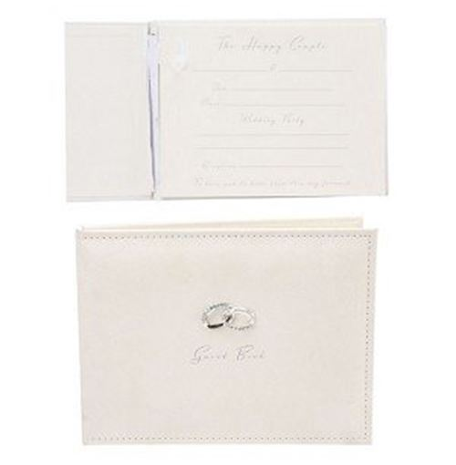 Amore Suede Guest Book with Silver Rings