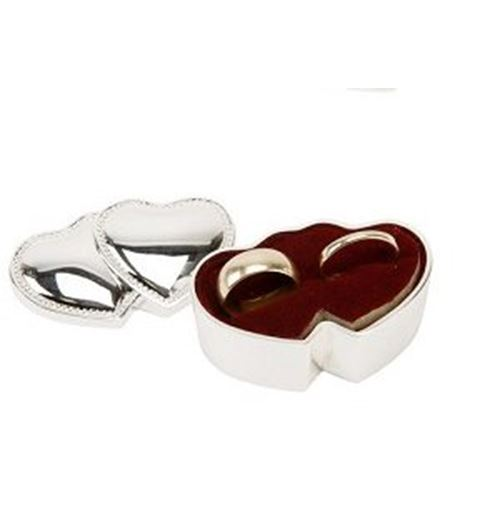 Sophia Silverplated Ring Box - Double Hearts