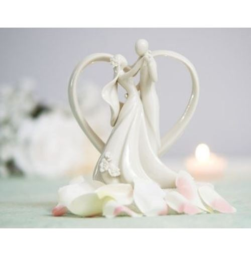 Bride and Groom with Heart Frame Figurine cake topper
