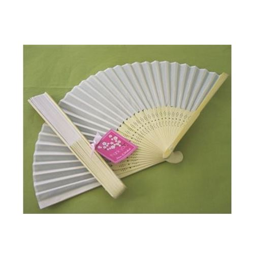 WHITE Silk Hand Fans Wedding Favours **Sale!**