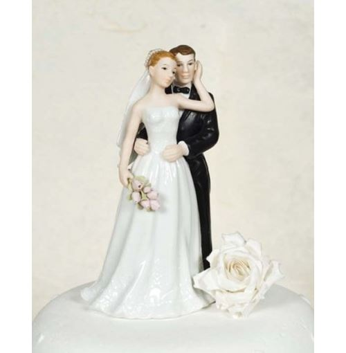 Elegant Rose bride and groom wedding cake topper